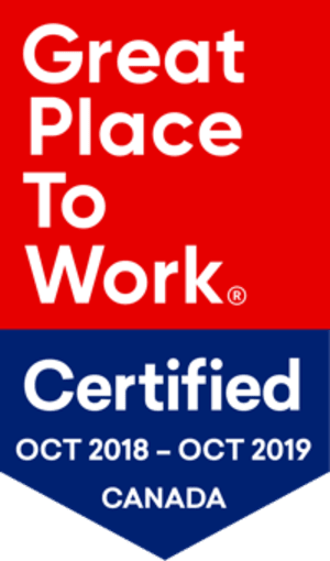 Great Place to Work Certified, October 2018 to October 2019, Canada.