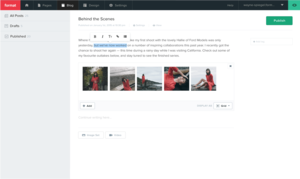 Format's blogging application on desktop