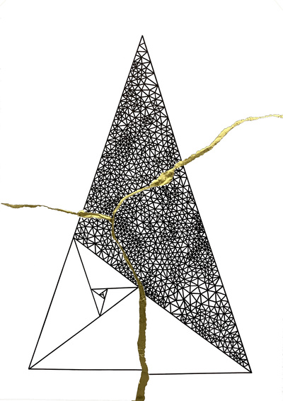 'Kintsugi Golden Ratio (Triangle)', Pen on Paper With Gold Leaf, 70x100cm, 2021.