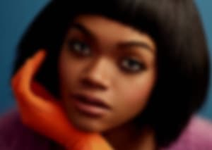 blurred image of female model close up
