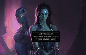 Example portfolio website by artist Andy Park