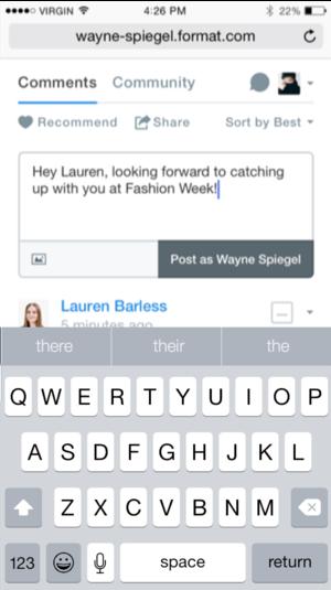 Format's blogging application on mobile