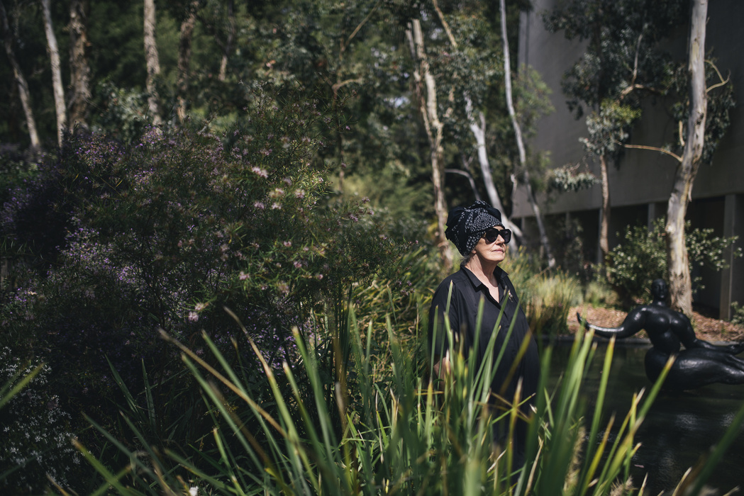 News.Portrait of Wendy Whitely in the Sculpture Garden at the National Gallery in Canberra..20 October 2015.Photo: Rohan Thomson.The Canberra Times